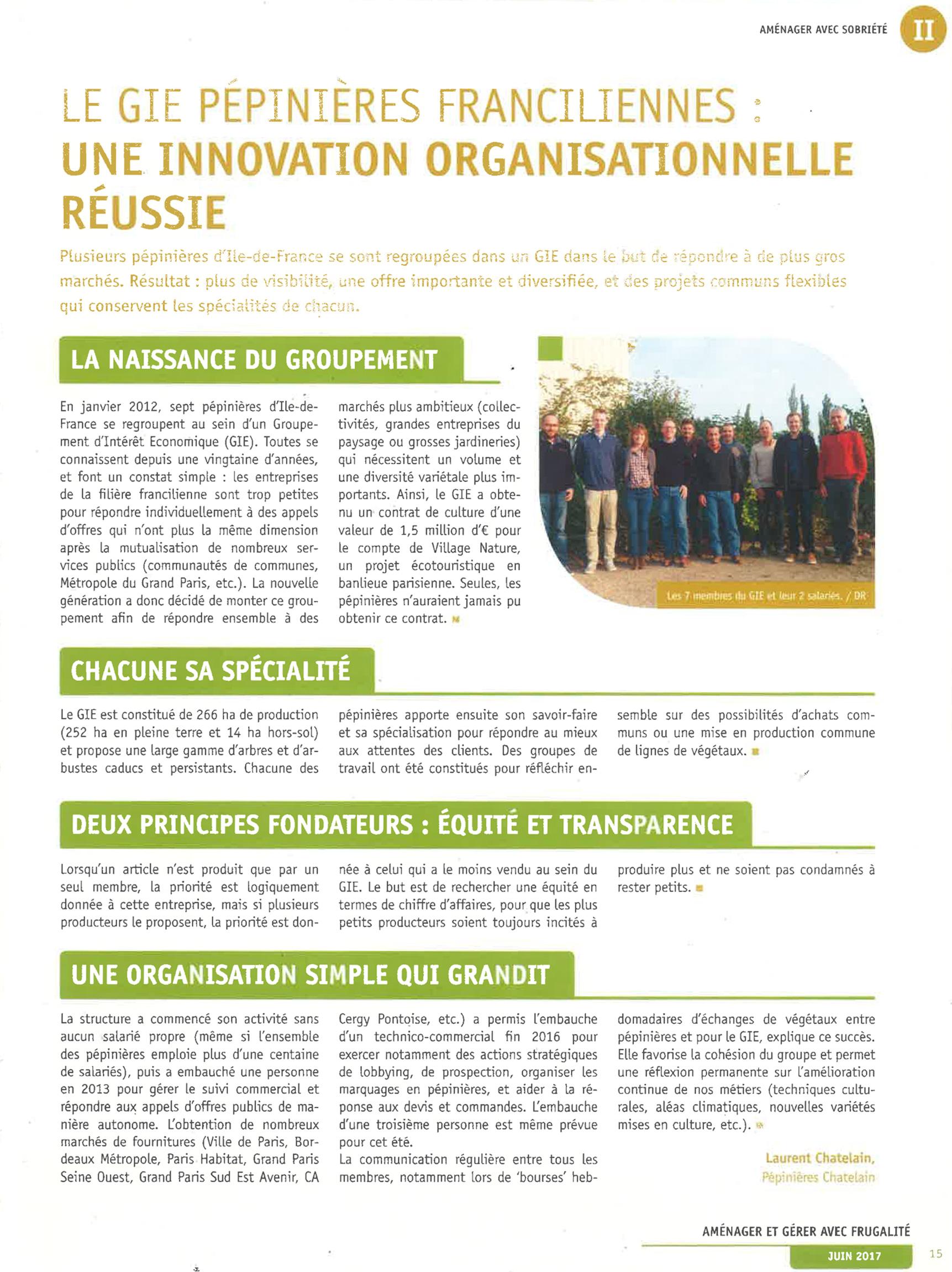 Le GIE Pépinières Franciliennes : Une innovation organisationnelle réussie